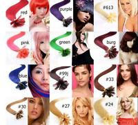 20-26 Remy Human Hair Nail U Tip In Extensions 100s 0.5g/s 50g More Color