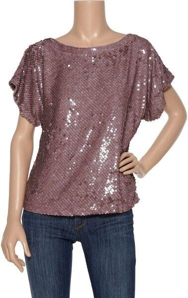 Vintage Inspired ALICE + OLIVIA Keran Dolman Sequin Dolman Top purplec Silk  S