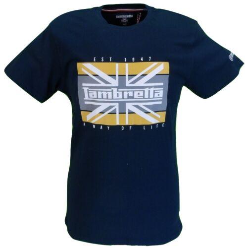 Lambretta Mens Navy Union Jack Retro 100/% Cotton T Shirt …