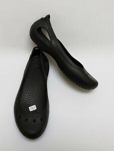 Crocs-Shoes-Flats-Black-Ballet-Slip-On-Cut-Out-Womens-Size-8