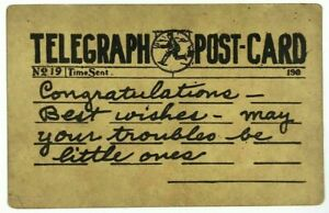 1900-039-s-Telegraph-Postcard-Congratulations-Best-Wishes-No-19-Time-Sent-Vintage
