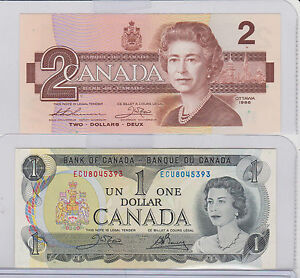 Bank-Of-Canada-1-00-One-Dollar-Bill-1973-amp-1986-2-Two-Bill-Both-Last-Issue