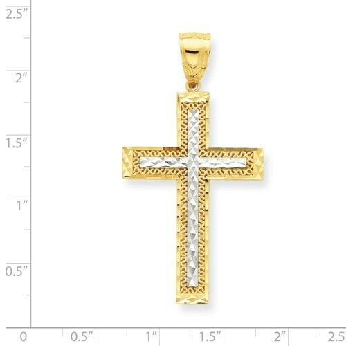 MEN//WOMEN 10K GOLD TWO-TONE DIAMOND-CUT FILIGREE CROSS CHARM PENDANT