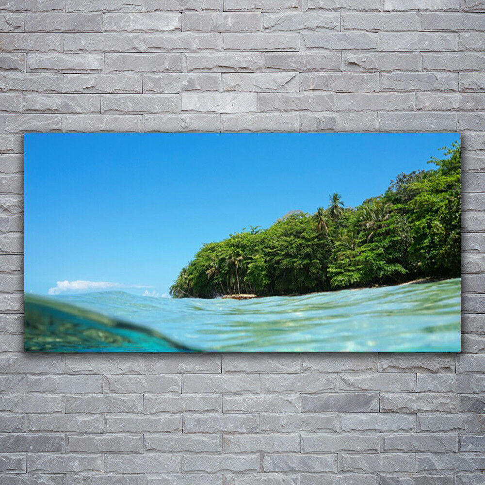 Impression sur verre Wall Art 120x60 Photo Image Mer Arbres Paysage