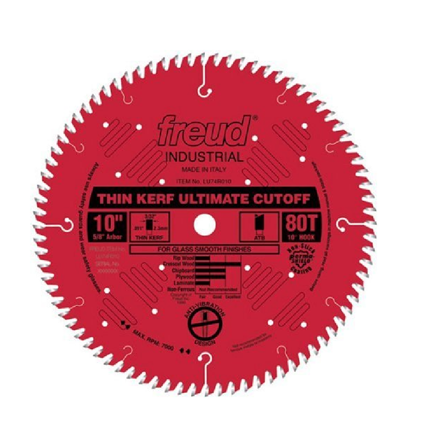 Freud 10  x 80T Thin Kerf Ultimate Cut-Off Blade (LU74R010)