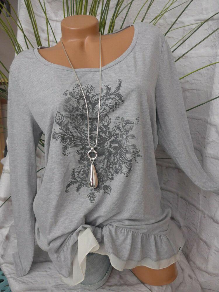 Boysens Shirt Femme Taille 36 à 46 Gris Avec Motif Doux Descendant (122) Neuf