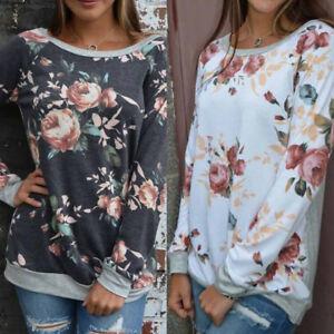 Womens-Long-Sleeve-Casual-Floral-Splicing-O-Neck-T-Shirt-Blouse-Sweatshirt-Tops