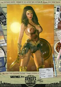 Wonder-Woman-Gal-Gadot-Justice-League-Sexy-039-Sunset-City-039-Comic-A3-Signed-Print
