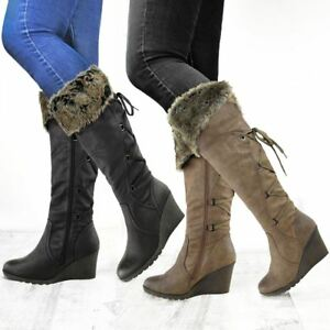 Womens Wedge Knee High Boots Low Mid