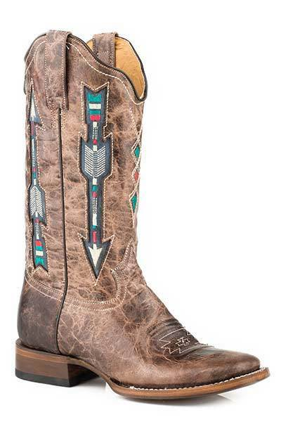 Roper Women's Ladies Embroidered Arrow Designed Distressed Leather Cowboy Boots