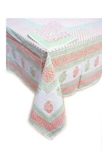 Tiger-Reserve-Block-Printed-Linens-Tablecloth-Orange-Body-Green-Border-60-034-x-90-034