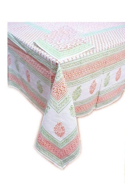 "Tiger Reserve Block Printed Linens-Tablecloth Orange Body Green Border 60"" x 90"""