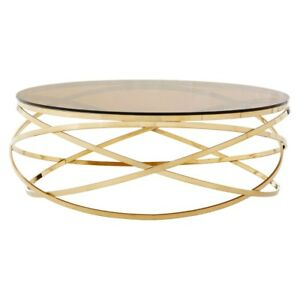 Details About Paloma Gold Round Coffee Table