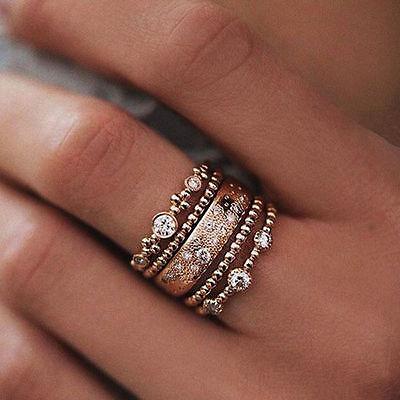 5pcs/Set Boho Women Stack Plain Above Knuckle Crystal Rose Gold Rings