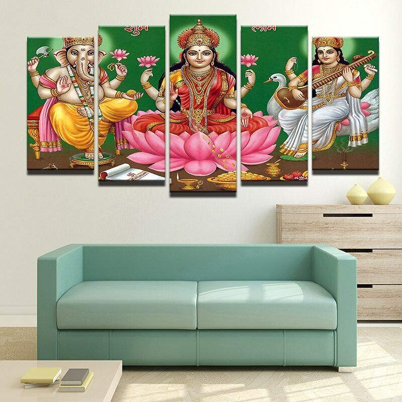 Lord Ganesha en fleur de lotus 5 pieces Toile Mur Décoration Home Decor Poster