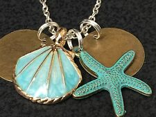 "Beach Theme Sea Shell Gold & Teal Starfish Charm Tibetan Silver 18"" Necklace A20"