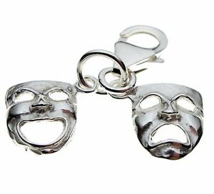 SILVER  DRAMA COMEDY AND TRAGEDY MASK DANGLE BEAD