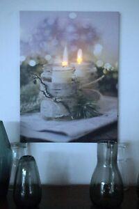 Leinwand Mit Led Beleuchtung | Led Bild Mit Beleuchtung Auf Leinwand Kerze Im Glas 2 Led 30x40cm