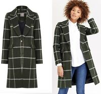 OASIS GIANT CHECKED MULTI GREEN  WOOL BLEND COAT JACKET   SMALL-MEDIUM-LARGE