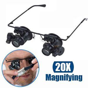 20x-fach-Juwelier-Uhrmacher-Lupe-Brillenlupe-Lupenbrille-LED-Licht-Reparatur-DAP