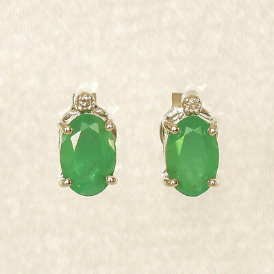 Natural Emerald Earrings Real Diamonds 9k White Gold Studs May Birthstone New Ebay