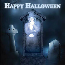 Happy Halloween Card boys girls ghoulish ghost in graveyard + Birthday & invite