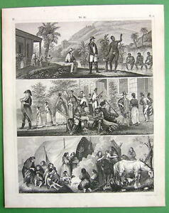 BRAZIL-Natives-Plantation-Diamond-Washing-Patagonia-SUPERB-Antique-Print