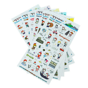 6 Sheets Cute Red Hair Girl Travel Diary Scrapbook Decoration Photo Stickers LW