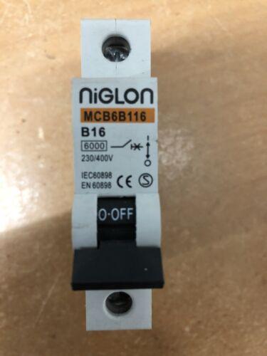 Niglon MCB6B116 B16 16A Reja de desminado 16 Amp Fusible Tipo B Interruptor de circuito