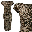 NEW LADIES BROWN BLACK LEOPARD PRINT SHORT CAP SLEEVE MIDI DRESS PLUS SIZE 6-20