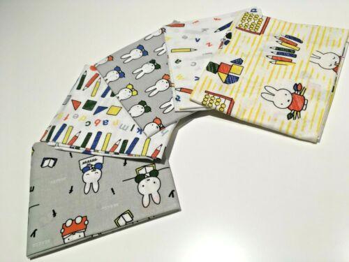 Miffy en la escuela Bunny Dick Bruna Gris 100/% Tela De Algodón Paquete De 5 piezas de grasa trimestre