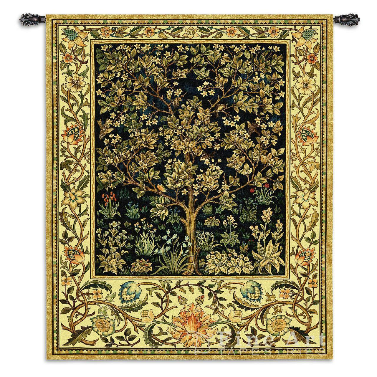 Tree Of Life Midnight Blau Mille Fleur Wall Tapestry William Morris Design 77x53