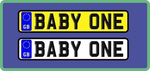 Pair of Plates Medium Kids Car//Baby Buggy//Walker Number Plate Novelty