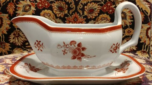 Spode GLOUCESTER Red Fine Stone Gravy Boat with attached underplate
