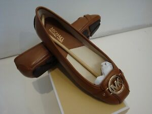 NIB-Women-Michael-Kors-Fulton-Moc-Saffiano-Leather-Flat-Shoes-Luggage-size-7-5