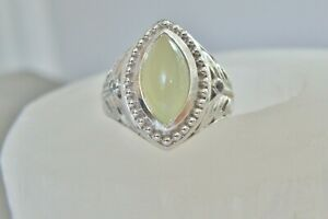 Designer-CHUNKY-Sterling-Silver-925-Green-Chalcedony-White-Topaz-Ring-Size-7-5