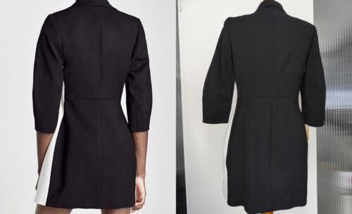 ZARA BASIC BLAZERKLEID MANTEL SCHWARZ WEIß DRESS JACKET BLACK WHITE