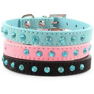 Pet-Dog-Velvet-PU-Leather-Collar-Puppy-Cat-Crystal-Rhinestone-Neck-Strap-XF