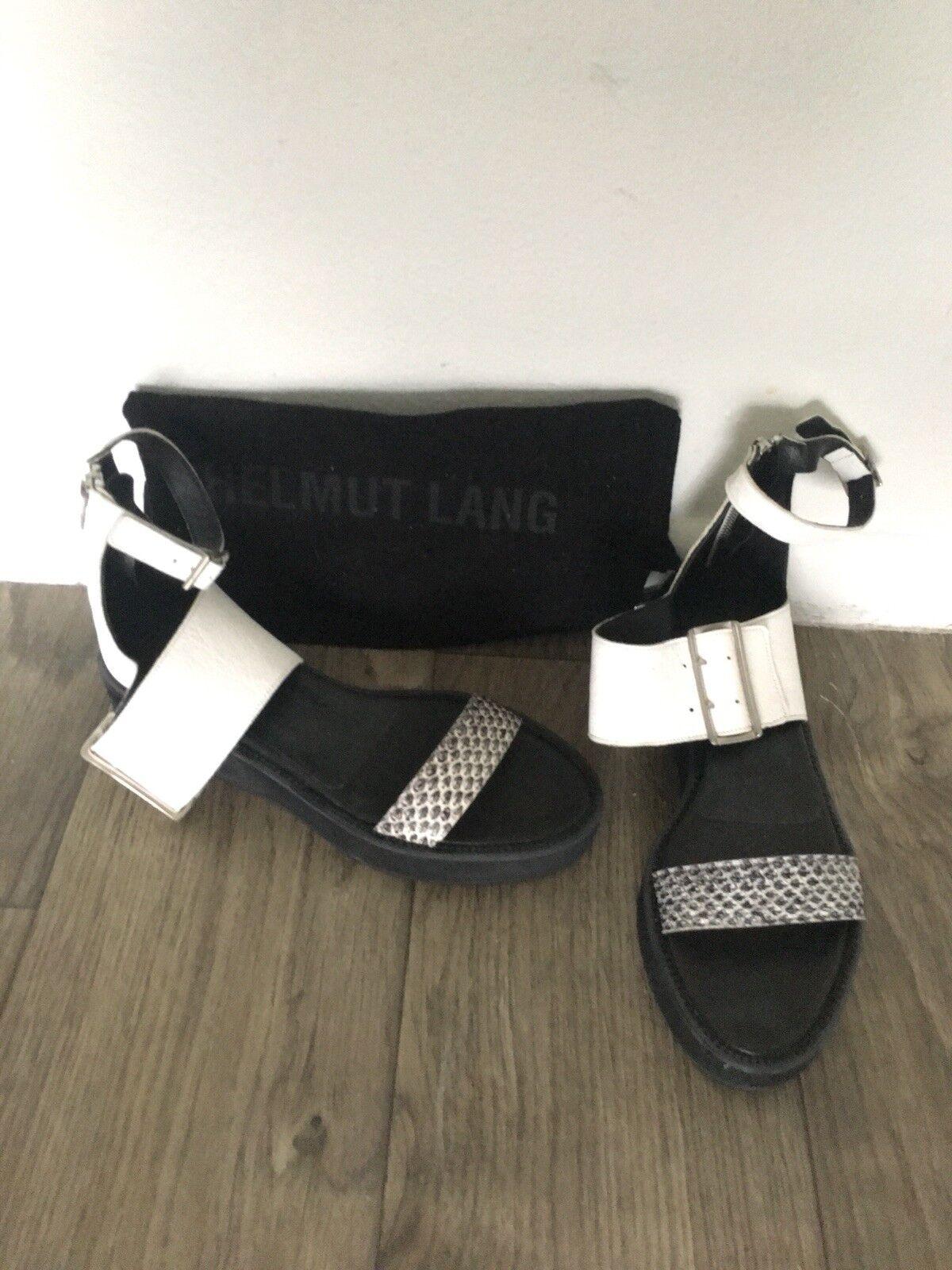 aquí tiene la última Helmut Lang 3 3 3 Correa Sandalia zapato nuevo con etiquetas 38.5 Negro blancooo Gráfico Serpiente  protección post-venta