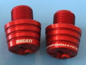 DUCATI 1199 PANIGALE  BILLET BAR END WEIGHTS  MACHINED FROM SOLID RED/THREADED