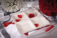 Drake Design White 4-section Ceramic Scroll Tray -