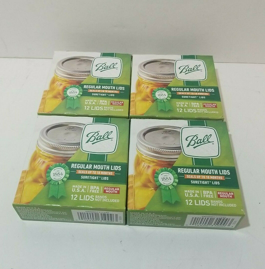No Bands 48 New Ball Suretight Regular Mouth Canning Jar Lids 4 Boxes of 12