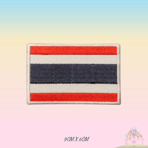 Thailand-National-Flag-Embroidered-Iron-On-Patch-Sew-On-Badge-Applique
