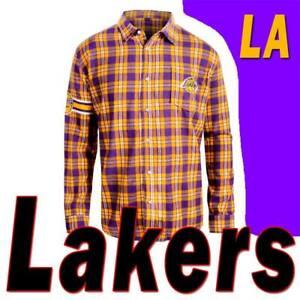 MEN'S NBA LA LAKERS SHIRT KLEW BASKETBALL TEAM LOGO FLANNEL PLAID LS SS M XL