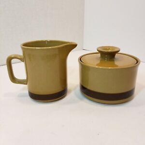 Vtg MCM Japan La Mesa Stoneware Creamer Sugar Bowl Set Gold w/Brown Stripe Daisy