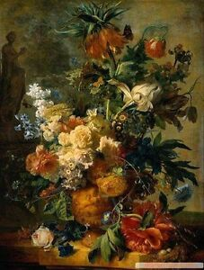 Dream-art oil painting Jan van Huysum - A Still Life With flowers on canvas 36""