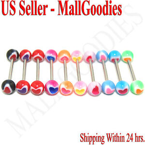 W050-Acrylic-Tongue-Rings-Bars-Barbells-Heart-Shape-Pattern-5-8-034-LOT-of-10
