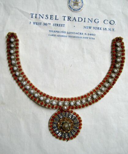 Fantastic Unused Vintage Bullion//Pearl//Bead Medallion Yoke Collar Applique