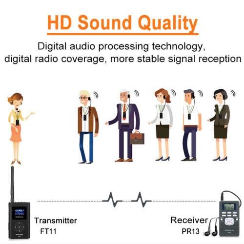 Drahtloses Reiseleitersystem 2*FM Sender+50*Empfänger+Mikrofone Kirche//Training