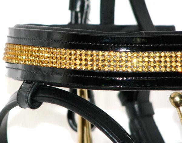 FSS GLISTEN Curve U CRYSTAL GOLD BLING Brass Crank Comfort Comfort Crank PATENT GLOSS Bridle 1ba973